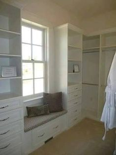 Master Closet - Southern Living Showcase Home. A window and window seat in the walk-in closet! Master Bedroom Addition, Master Bedroom Closet, Home Bedroom, Bedrooms, Master Closet Layout, Master Closet Design, Walk In Closet Design, Closet Designs, Diy Walk In Closet
