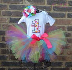 Polka Dot Party Birthday Tutu Outfit Rainbow Candyland Theme Tutu Outfit