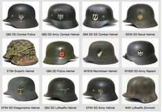 Many kinds of German helmets at the World War II. The picture includes many details.: