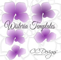Wisteria Paper Flowers, Hanging Wedding Flowers, SVG Paper Flower Cut Files, Flower Templates and Tutorial, Wedding Paper Flowers Leaf Template, Flower Template, Templates, Purple Wisteria, Diy Papier, Diy Décoration, Paper Flowers Diy, Diy Hanging, How To Make Paper