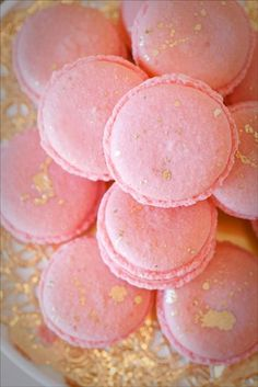 Every girl needs a little indulgence. Blush Pink with Gold Splatter Macaroons from Sweet and Saucy Shop