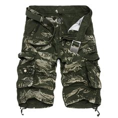17.95$  Buy now - http://dis34.justgood.pw/go.php?t=175619701 - Military Style Zipper Fly Multi-Pocket Loose Fit Straight Leg Men's Camo Shorts