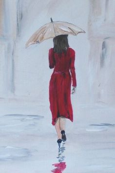 ARTFINDER: Streetwalking by Graham Evans - A lady in a red dress, walking down a street in the rain.