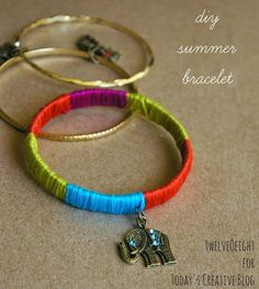 Be stylish this summer and make yourself some bling with this diy summer bracelets tutorial. Create any color pattern for any outfit! Beaded Jewelry, Handmade Jewelry, Beaded Bracelets, Fabric Bracelets, Bangles, Diy Craft Projects, Diy Crafts For Kids, Craft Ideas, 31 Ideas