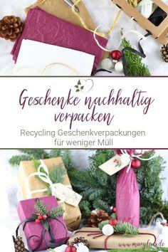 Geschenke nachhaltig verpacken für weniger Müll an Weihnachten - #nachhaltigkeit #nachhaltigegeschenkverpackungen #geschenke #nachhaltigeweihnachten #nachhaltigegeschenke #lesswastexmas No Waste, Diy Weihnachten, Gift Wrapping, Crafty, Hallo Winter, Table Decorations, Zero, Winter Diy, Green