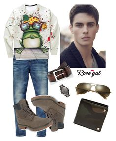 """""""Untitled #501"""" by gabbylara ❤ liked on Polyvore featuring Scotch & Soda, Timberland, Barneys New York, Valentino, Ray-Ban, FOSSIL, men's fashion and menswear"""