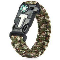 5 in 1 Outdoor Survival Gear Escape Paracord Bracelet Flint / Whistle / Compass / Scraper
