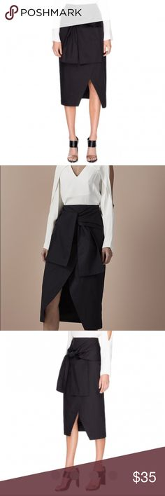 """NWT C Moe Collective I'm In It Skirt Wide sashes add drama to this crisp C/Meo Collective skirt. Envelope hem. Hidden back zip. Double-layered.  Fabric: Shirting. 100% cotton. Wash cold. Imported, China.  Measurements Length: 31"""" ✨ waist 24"""" C/MEO Collective Skirts Midi"""