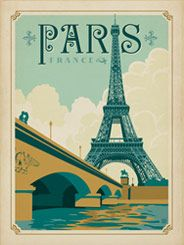 France: Paris - Our latest series of classic travel poster art is called the WorldTravel Poster Collection. We were inspired by vintage travel prints from the Golden Age of Poster Design (a glorious period spanning the late-1800s to the mid-1900s.) So we set out to create a collection of brand new international prints with a bold and adventurous feel.