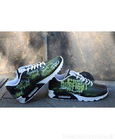 reputable site 1ca4b 365ce Nike Air Max 90 Personnalisé Peint Noir Vert Entraîneur