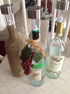 Wine Bottle Solar Lights - Our Crafty Mom- DIY-Summer Entertaining-Upcycle-Recycle-Crafts light crafts Wine Bottle Corks, Wine Bottle Crafts, Wine Bottle Trees, Bottle Bottle, Beer Bottles, Bottle Opener, Solaire Diy, Solar Licht, Solar Light Crafts