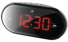 "GPX AM FM Dual Alarm Clock Radio Black 1.2"" Display Dimmer from US Seller #GPX"