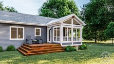 Screened Porch Designs, Screened In Patio, Backyard Patio, Back Porch Designs, Sunroom Addition, Deck Addition Ideas, Mobile Home Exteriors, Four Seasons Room, Three Season Porch
