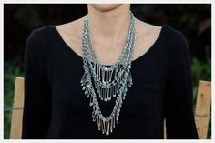 I am seeing a lot of cute DIY jewelry with safety pins that don't look super tacky. This, being one of them. I love the layered necklace.