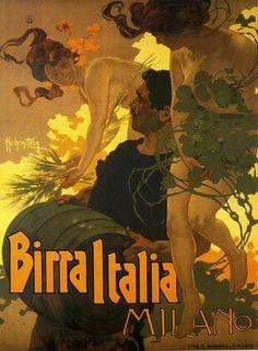 Adolfo Hohenstein. Birra Italia Milano (1906) #TuscanyAgriturismoGiratola