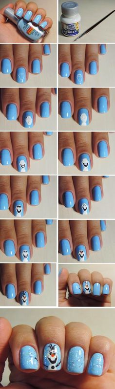 Wonderful Frozen Nail Art Design Tutorials