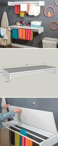 Declutter your laundry room with this dual-purpose laundry rack. It has long bars where you can hang clothes to dry, plus an optional hinged table that provides a perfect place for folding and sorting clothes. FREE PLANS at buildsomething.com by jana