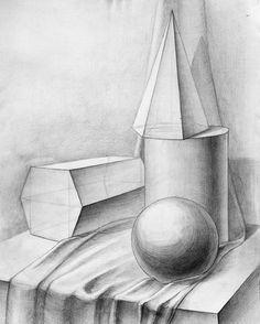 Натюрморт из геометрических фигур.  #рисунок #творчество #художник #своимируками #арт #искусство #sculpture #art #arte #instaart #artist #draw #drawing #pencil