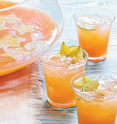 Tropical Champagne Punch 2 cups pineapple-mango juice 2 cups orange juice 2 cups cranberry juice 2 cups guava nectar 1 cup apple juice 1 bottle sparkling wine Garnish: sliced star fruit and limes I would add vodka to kick it up a bit! Champagne Punch Recipes, Cocktail Recipes, Cocktail Ideas, Drink Recipes, Spring Cocktails, Summer Drinks, Fruity Cocktails, Holiday Drinks, Party Drinks