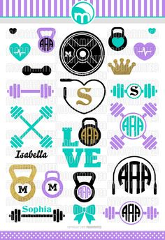 Weightlifting Fitness SVG Cut Files - Monogram Frames for Vinyl Cutters, Screen Printing, Silhouette, Die Cut Machines, & More by MoonMinted on Etsy https://www.etsy.com/listing/259757036/weightlifting-fitness-svg-cut-files