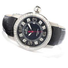 Invicta 6452 Women's Swiss Italian Crystals Black Leather Strap Watch