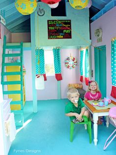 Welcome to my Kids Playhouse! This kids playhouse is packed with fun things to do and cute ideas to use! Playhouse Decor, Playhouse Interior, Girls Playhouse, Backyard Playhouse, Playhouse Outdoor, Playhouse Ideas, Kids Outdoor Play, Outdoor Play Spaces, Backyard For Kids