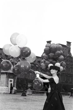 Audrey with balloons in Funny Face