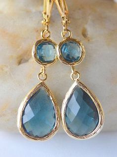Sapphire Blue Glass Teardrop Dangle Earrings in Gold