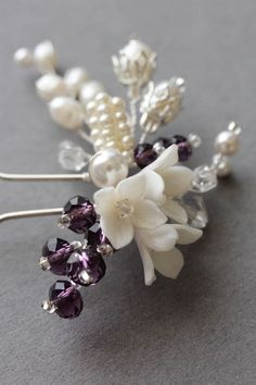 Bespoke for Mary_bridal hair pins in ivory and purple 2