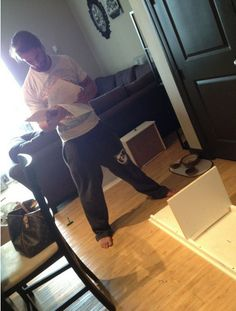 Colby Lopez trying to build a desk from ikea. The only man to ever look at instructions! C':