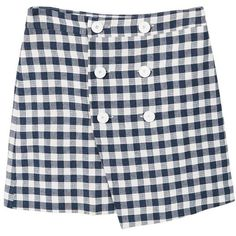 MANGO Gingham print skirt ($50) ❤ liked on Polyvore featuring skirts, cross over skirt, lined skirt, gingham skirt, checked skirt and asymmetric hem skirt