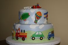 Baby Shower Vehicles Cake Shower cake for a baby boy. All decorations made with fondant.