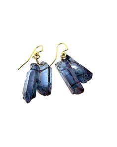 #Iridescent #Blue #Quartz #Crystal #Rock #Earrings