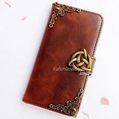 Celtic phone wallet Leather flip case Handmade Card cover For Samsung S5 S6 Edge
