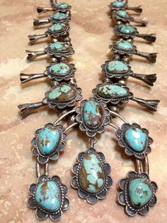 Vintage Signed Navajo Old Pawn SQUASH BLOSSOM Necklace Sterling Silver Turquoise #SOUTHWESTERN