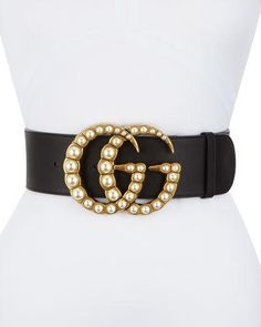 D2FWS Gucci Wide Leather Belt w/ Pearlescent Beads, Black/Cream