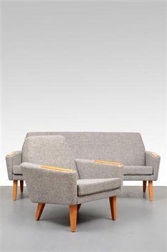 Lauritz.com - Antique and older furniture - sofa and armchair 1950s (2) - SE, Malmö, Baltzarsgatan