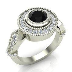 adbe93321eac68 1.56 ctw Round Cut Black Diamond Vintage Millgrain Setting Ring 1 Carat  Center 14K White Gold