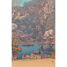 [フリー絵画素材] 吉田博 - 桜八題 嵐山 (1935) ID:201403110900