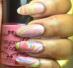 Easter/Spring Watermarble by Glamorousnail from Nail Art Gallery