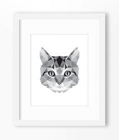 Cat Print Cat Art Cat Wall Art Geometric Cat Print Cat от Abodica