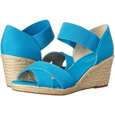 Nine West Renu Women's Wedge Shoes, Blue (53 CAD) ❤ liked on Polyvore featuring shoes, sandals, blue, platform wedge shoes, blue sandals, blue shoes, wedge heel sandals and espadrille wedge sandal