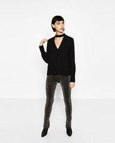 ZARA-BLACK-CHOKER-NECK-BLOUSE-Long-sleeve-buttoned-cuffs-Rear-fastening-BLOGGERS