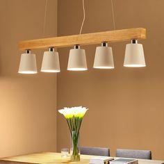 Oak Wood White Chandelier Ceiling Lamp Fixture Modern Nordic Japanese Hanging Light Lustre Avize Home Bedroom Living Room Salon