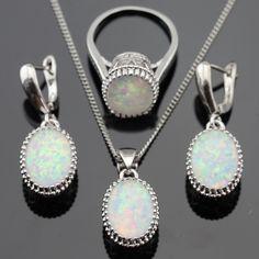 Australia White Opal Piedras Plata de Color Pendientes de Gota Colgante de Collar de Sistemas de La Joyería Para Las Mujeres Anillos de Navidad Caja de Regalo Libre
