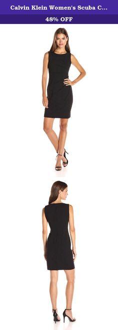 Calvin Klein Women's Scuba Crepe Starburst Sheath Dress, Black, 12. Round Neck Sleeveless Sheath With Starburst Detail in scuba fabric.