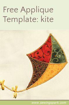 Free appliqué template: click through to download a free kite appliqué template