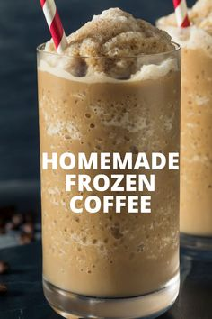 Save a ton of calories and skip the drive through with our make at home Skinny Frozen Coffee! This slushy coffee drink is a frosty, refreshing way to enjoy your morning cup of joe! Blended Coffee Recipes, Blended Coffee Drinks, Coffee Drink Recipes, Milkshake Recipes, Frozen Coffee Drinks, Cold Coffee Drinks, Starbucks Drinks, Coffee Slush Recipe, Iced Coffee Blender Recipe