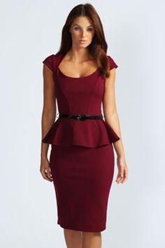 Keeley Peplum Belted Midi Dress Git it in black; want it in berry, navy & grape, too!