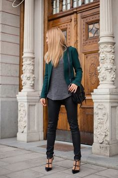 Great blazer and, well, everything (a fun chunky necklace or layered necklaces would make it even better).